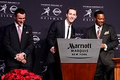 NEW YORK-DEC 8: Texas A&M quarterback Johnny Manziel, offensive coach Kliff Kingsbury & head coach K