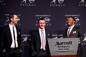 NEW YORK-DEC 8: Texas A&M offensive coach Kliff Kingsbury, quarterback Johnny Manziel & head coach K