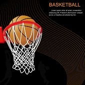 Basketball Hoop And Ball On Abstract Background