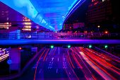 Blue Highway Street Traffic Green Red Night Light Trails Central Shanghai China