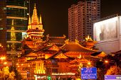 Golden Jing An Temple Park Nanjing Street Shanghai China At Night