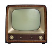 stock photo of televisor  - studio photography of a nostalgic old TV set in white back - JPG