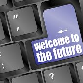 Social Media Key With Welcome To The Future Text On Laptop