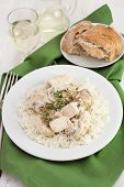 Chicken With Champignons, Sceams And Boiled Rice On The Plate