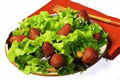 Fresh Summer Green Salad With Strawberries ~ Close Up