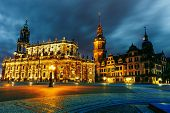Dresden, Hofkirche on a stormy night