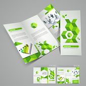 Professional business three fold flyer template, corporate brochure or cover design in green color,