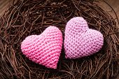 image of two hearts  - Little cozy nest with two crochet hearts - JPG