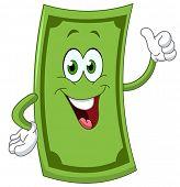 Dollar cartoon showing thumb up