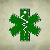 Caduceus medical symbol on vintage background.