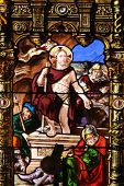PARIS - NOV 07, 2012:Resurrection of Christ, stained glass, church is dedicated Gervasius and Protas