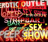 picture of strip-tease  - image made from signs and symbols taken in amsterdam - JPG