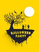 Scary Halloween moonlight background with dead tree, owl and bats silhouette, can be use as flyer, b