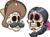 Cartoon mexican skulls. Vector clip art illustration with simple gradients. Each on a separate layer.