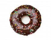 foto of white sugar  - tasty chocolate donut - JPG