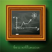 Graph of growth draw chalk on board