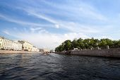 ST.PETERSBURG, RUSSIA - JUNE 24: On boat along channels city, June 24, 2013, SPb, Russia. In the cit