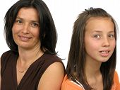 Isolated Portrait Of A Mother With Daughter