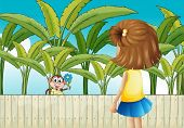 Illustration of a girl and a monkey near the wooden fence