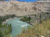Sand banks along the Chilcotin river