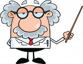 stock photo of physicist  - Funny Scientist Or Professor Holding A Pointer Cartoon Character - JPG