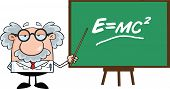Funny Scientist Or Professor With Pointer Presenting Einstein Formula