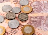 stock photo of mahatma gandhi  - Indian currency notes and coins - JPG