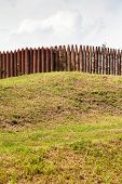 Wall From Wooden Stakes On Rampart