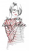 pic of freehand drawing  - fashion sketch drawing girl with watercolor - JPG