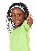 stock photo of little young child children girl toddler  - Adorable small african child with braids wearing a bright green shirt - JPG