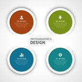 Infographics options design elements. Vector illustration. Round banner numbers and icons website ep