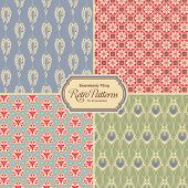 pastel-colored retro patterns - set of four vintage designs (seamlessly tiling)