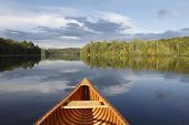 stock photo of marshes  - Bow of a Cedar Canoe on a Tranquil Lake  - JPG