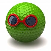 Green golf ball with sunglasses