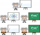 picture of physicist  - Funny Scientist Or Professor Cartoon Characters  Set Collection 2 - JPG