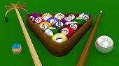 8 Ball Pool 3D Game - All Balls Racked With Accessories On Green Table