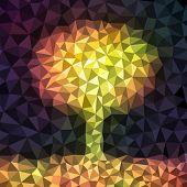 Autumn tree mosaic background, vector eps8 illustration