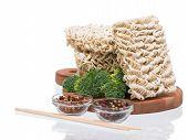 Ramen Instant Raw Noodles On Cutting Board 3/4 Presentation 1