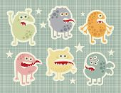 Cute monsters set in retro style.
