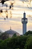 London Central Mosque (regents Park Mosque) England, Uk, At Sunset