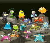 Family of monsters in the cave. Funny cartoon and vector isolated characters.