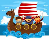 stock photo of viking ship  - three viking on one ship sailing on sea - JPG