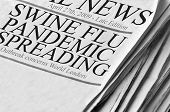 stock photo of swine flu  - Newspaper headlines document the spreading concern about Swine FLU Pandemic - JPG