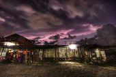 Purple Sky over an old hut