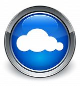 Cloud Icon Glossy Blue Button