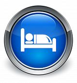 Bed Icon Glossy Blue Button
