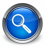 Magnifying Glass Icon Glossy Blue Button