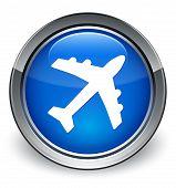 Plane Icon Glossy Blue Button