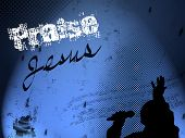 picture of praising  - JPEG illustration of gospel singer in silhouette on blue gradient background - JPG