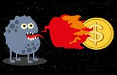 Cute monster with fire and dollar coin.